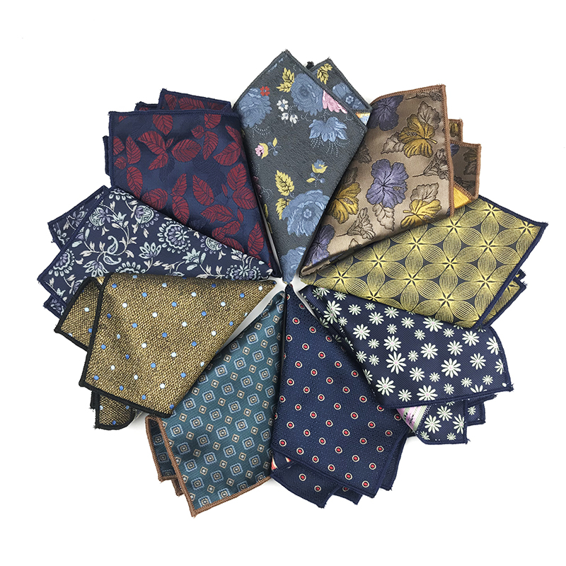New Arrived 100% Polyester Woven Floral  Handkerchief Wedding Business  Pocket Squares For Men Matching Necktie Bowtie Available