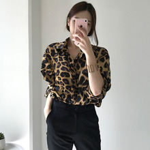 Spring Autumn Chic Retro Leopard Print Loose Wild Long-Sleeved Blouse Casual Top