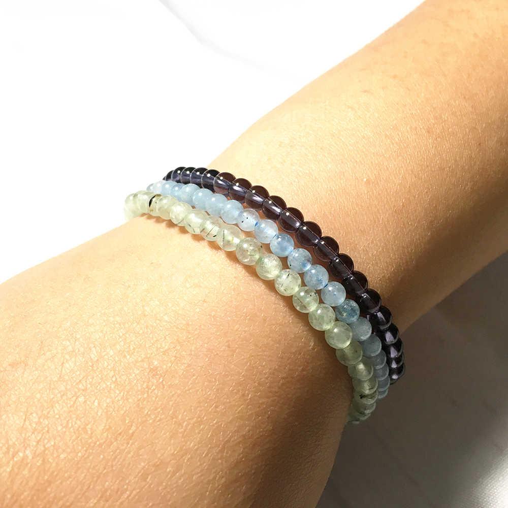 Ruberthen アクアマリンブレスレットセットナチュラル紫水晶のブレスレット 4 ミリメートルミニ宝石石のエネルギーブレスレット