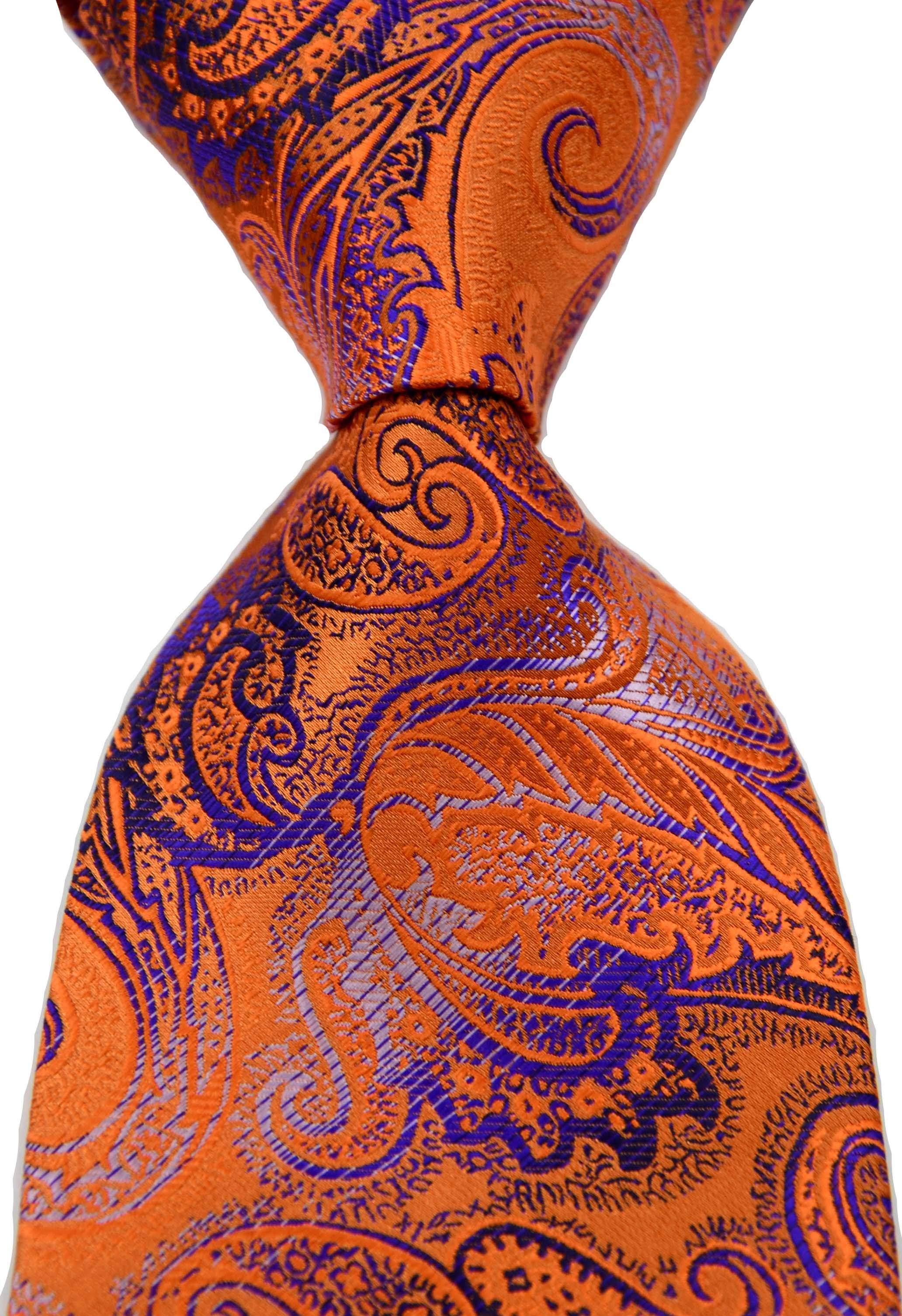 Fashion MEN'S  Classic Paisley Floral Orange Blue Gold Ties  Wedding Tie Silk Jacquard Woven Mens Dot Tie  Neck Ties
