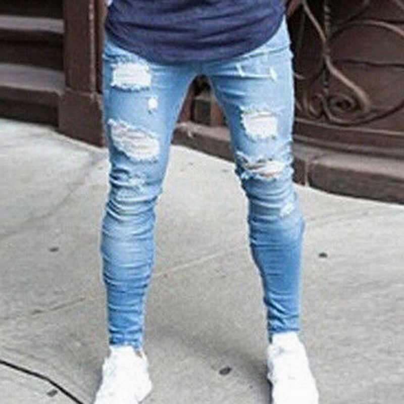 Pantalones De Pitillo Con Diseno Rasgado Para Hombre Vaqueros De Longitud Completa Ajustados Al Tobillo Ropa De Calle A La Moda 2021 Pantalones Vaqueros Aliexpress