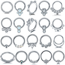 1PC Stahl Opal Nase Septum Hoop Kristall Ohr Helix Clicker Piercing Ohr Knorpel Tragus Conch Daith Rook Piercing Nariz schmuck(China)