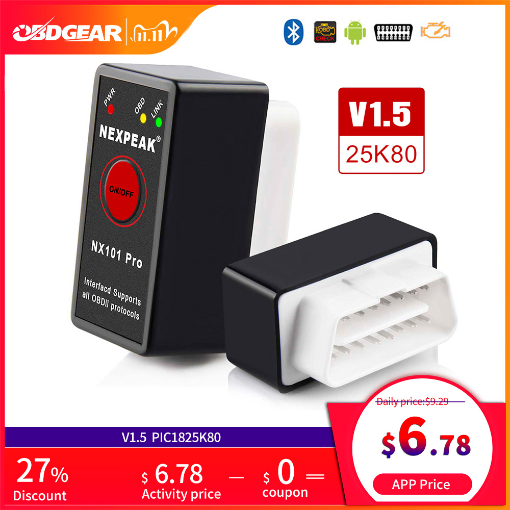 OBD2 ELM327 Bluetooth pic18f25k80 OBD2 Car Scanner ELM 327 Mini V1 5 OBD2 Scanner OBD Elm327  V 1 5 Auto Diagnostic Tool