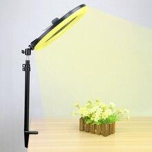 LED halka ışık kısılabilir Selfit lamba gerilebilir masaüstü Stand braketi telefonu klip tutucu Video canlı fotoğraf aydınlatma