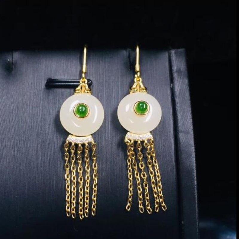 Naturel 925 argent Sterling chinois Hetian blanc Jade gemmes bouton de sécurité avec gland chaîne bijoux de noël Jade boucles d'oreilles