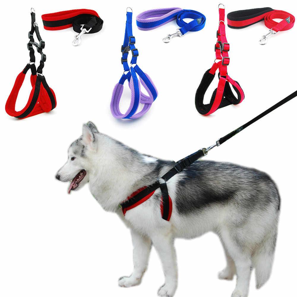Hund Harness Weste Leine Solide Atmungsaktive Mesh Pet Produts Adjustbale Outdoor Fuß Leine Hund Kragen für Medium Large Hunde
