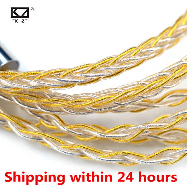 KZ Earphones cable 8 Core Gold Silver Mixed plated Upgrade cable Headphone wire for V90 V80 C10 ZST T2 ZST ZSX ZS10 PRO ZSN ES4