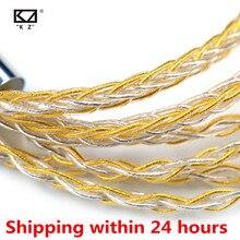 KZ słuchawki kabel 8 rdzeń złota domieszka srebra galwanicznie uaktualnić słuchawki przewodowe drutu dla V90 V80 C10 ZST T2 ZST ZSX ZS10 PRO ZSN ES4