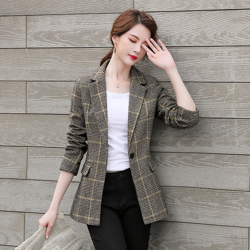 Autumn And Winter Women's Jacket Casual Slim Long Sleeve Plaid Blazer Business Office Suit Woman Fashionable Top High Quality