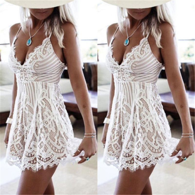 Fashion Bodycon Lace Dress Ladies Elegant Casual Sexy Deep V-Nech Mini White Beach Dresses Womens Plus Size