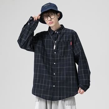 Mens Dress Shirts and Long Sleeve Plaid Shirt for Men Korean Fashion Clothing Oversized Button Up Blouse Outerwear Streetwear button up long sleeve plaid shirt