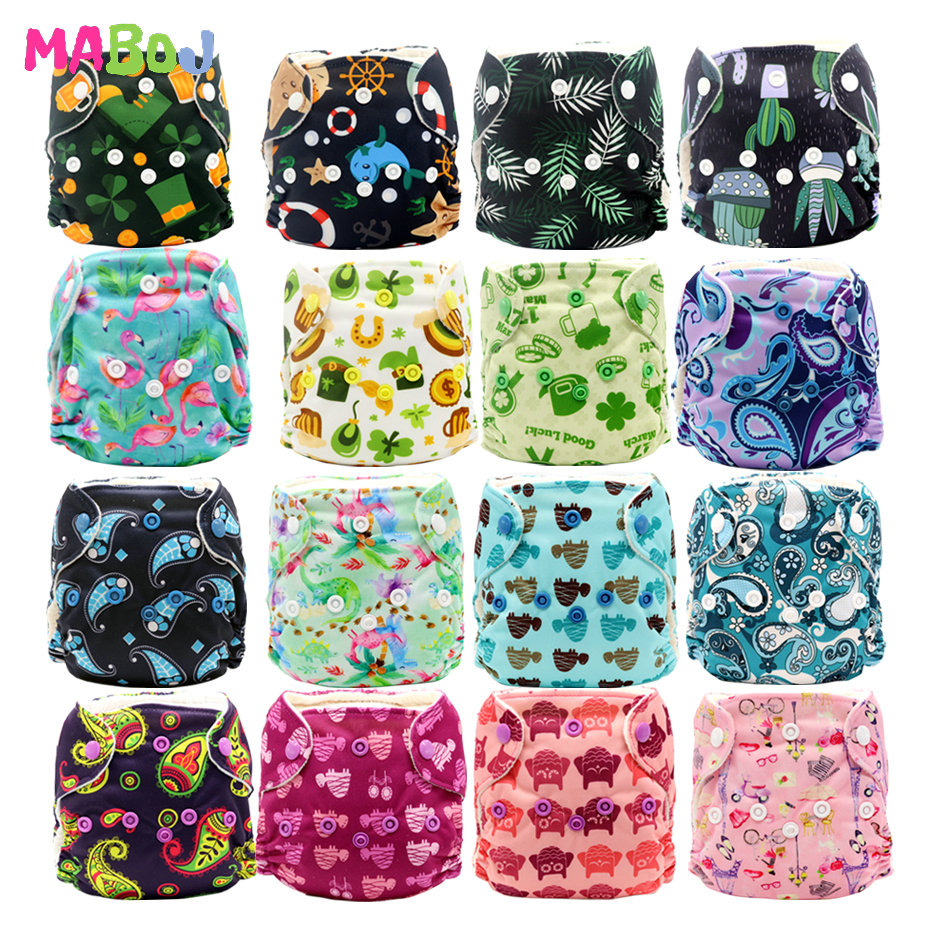 MABOJ Newborn AIO Cloth Diapers Baby AIO Diaper All In One Diaper New Born Washarable PUL Double Gussets Nappy Microfibre Insert