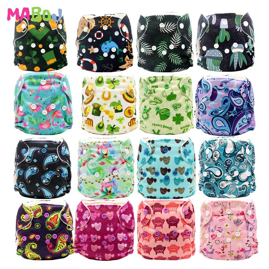 Mabox тканевые подгузники для новорожденных AIO, детские подгузники AIO, универсальные подгузники для новорожденных, двойные вставки PUL, вставки ...