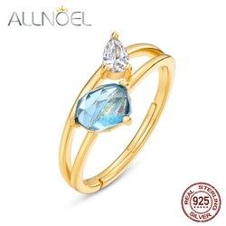 ALLNOEL, серебро 925 пробы, Лондон, голубой топаз, 3A CZ, изысканное кольцо, высокое качество, уникальный дизайн, ювелирные изделия, 2020, новые кольца ...