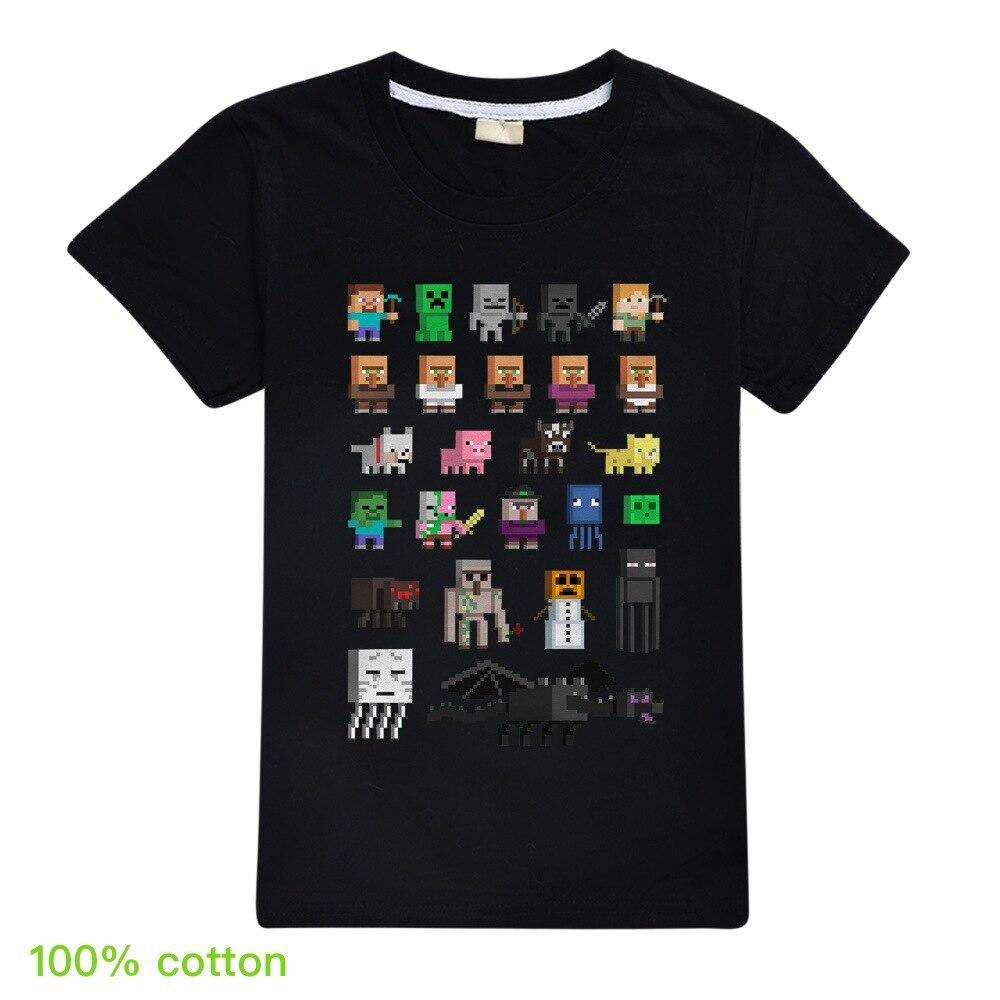 Children T Shirts Plants Vs Zombies Wars Boys Clothing Cartoon Game Pattern Boys Clothes Kids O-Neck T-shirt Summer Minecrafting