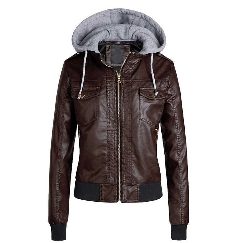 2020 ใหม่แฟชั่นผู้หญิงฤดูใบไม้ร่วงฤดูหนาวสีดำ Faux หนังแจ็คเก็ตซิป Basic Coat แจ็คเก็ต BIKER กระเป๋า