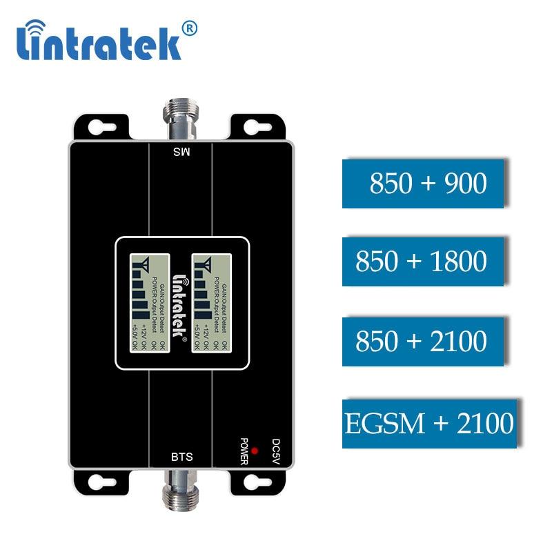 Lintratek CDMA 850 1800 Dcs 2g 3g GSM WCDMA 2100 EGSM Dual Band Repeater Cellphone Signal Gsm Umts Booster 4g Amplifier LCD Dd