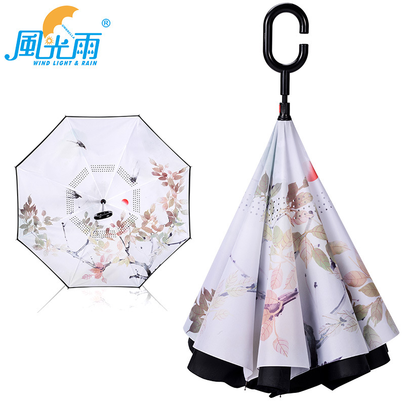 Cross Border Supply Of Goods Straight Pole Reverse Umbrella C- Shape Hands-Free Double Layer Ultra Large Creative Manufacturers