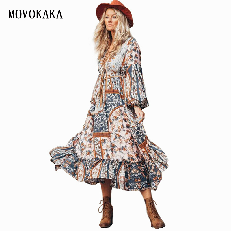Image 1 - 2020 Spring Summer Boho Dress Vintage Long Dress Women Vestido Chiffon Plus Size Dresses Elegant Party Dress Long Sleeve DressesDresses   -