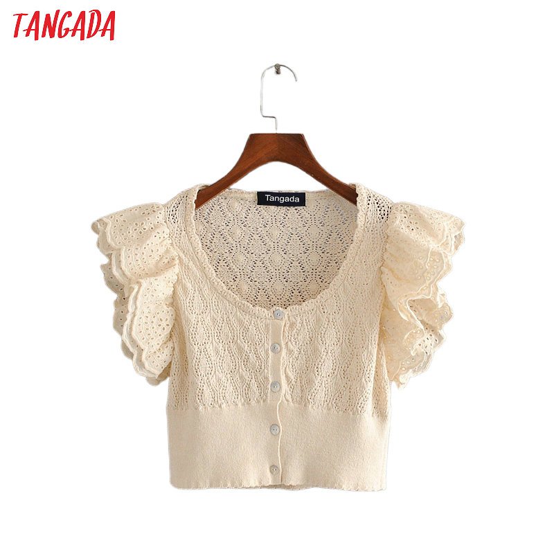 Tangada Women Vintage Embroidery Hole Shirts Ruffles Sleeve O-neck Female Casual Summer Tops Blouses 3H579
