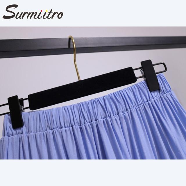 SURMIITRO Korean Style Long Skirt Women For Spring Summer 2021 Blue White Black High Waist Sun School Midi Pleated Skirt Female 6