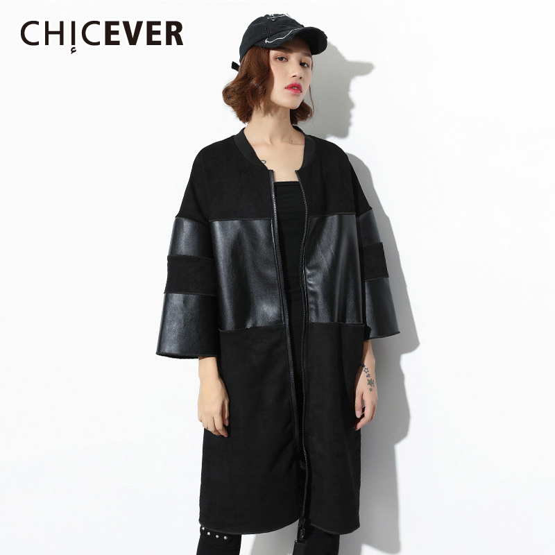 CHICEVER Patchwork PU Leather Trench Coat Female Stand Collar Pocket Oversize Loose Women's Windbreaker Clothes 2020 Spring New