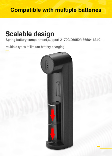 VOXLINK battery charger Smart charging 1 slot USB 18650 26650 18350 32650 21700 26700 26500 Li-ion Rechargeable Battery charger 3
