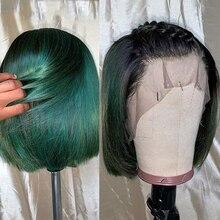 Темно-зеленые прямые короткие волосы с эффектом омбре, парики на шнуровке спереди, волшебный срез 13*6, человеческие волосы с глубокой поверх...