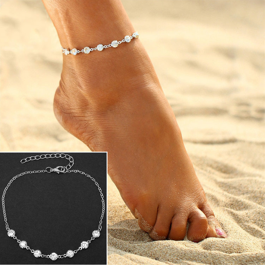 Women Foot Bracelet Bride Anklet Flash Bracelet Jewelry Female Girl Ankle bracelet Leg Chain Jewelry Charm Anklets Strap