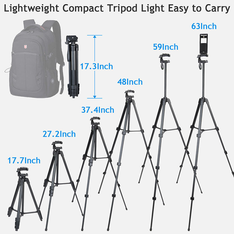 Phone Tripod 60-Inch with 2 in 1 Mount Holder & remote control for iphone/ipad/Gopro/DSLR Camera, with Carry Bag for Travel 2