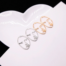E0431 New Fashion Gold/Silver Face Stud Earrings For Women Personalized Hollow Earring Statament Ear Jewelry Gift Wholesale