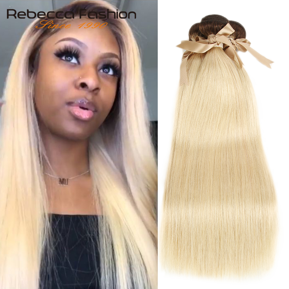 Rebecca Ombre Blonde Bundles Peruvian Straight Remy Human Hair Brown Roots 1/3/4 T4/613 Honey Blonde Bundles 10 to 26 Inches