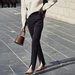 Женские длинные брюки-Карандаш [EAM], черные свободные брюки-карандаш с высокой талией и разрезом, весна-осень 2020 1N369