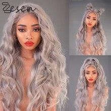Zesen peruca dianteira do laço sintético resistente ao calor natural peruca de cabelo de onda longa para as mulheres cosplay ou uso diário perucas