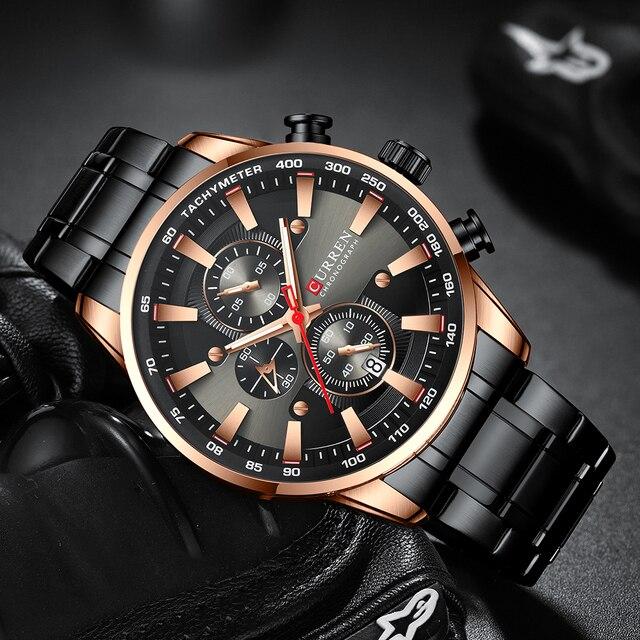 Curren preto relógio de ouro para homens moda quartzo esportes relógio de pulso cronógrafo data relógios aço inoxidável masculino relógio 2