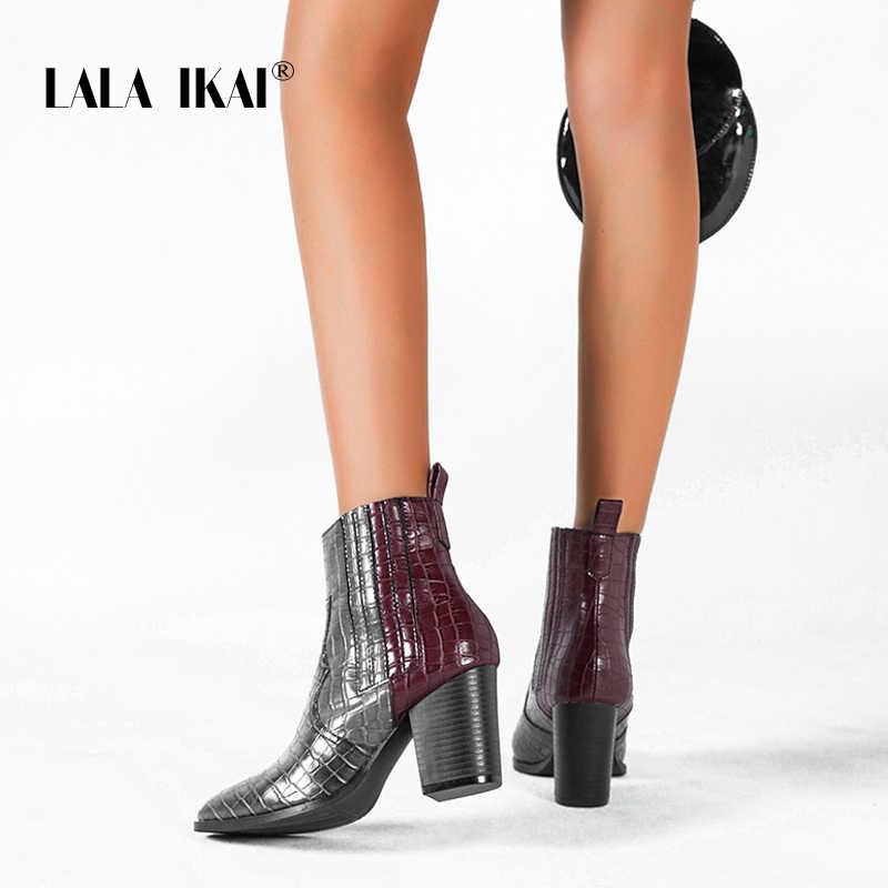 LALA IKAI femmes hiver couleurs mélangées bottines femme talons carrés chaussures sans lacet Pu cuir mi talons Chelsea bottes XWC4051-4