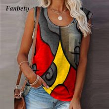 Women Casual Sleeveless Patchwork T-Shirts Vintage Plus Size Loose O-Neck Vest Top Summer Sexy Colorful Print Tee Shirt Clothing