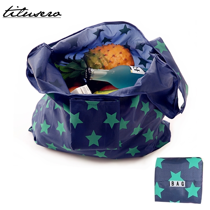 Foldable Eco Shopping Bag Tote Pouch Portable Reusable Nylon Grocery Storage HandBag F095