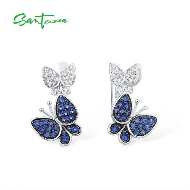 SANTUZZAเงินต่างหูผีเสื้อสำหรับผู้หญิงสีฟ้าสีขาวCubic Zirconiaต่างหูผู้หญิงบริสุทธิ์แท้925