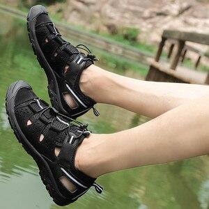 Image 3 - 春男性屋外サンダルチェック柄夏カジュアル快適な抗ハイキングトレッキング靴ビーチ釣りサンダルビッグサイズ 38  46