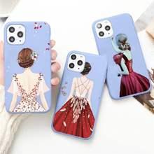 Robe rouge à la mode pour filles, étui de téléphone de couple couleur bonbon bleu pour iPhone 11 12 pro XS MAX 8 7 6 6S Plus X 5s SE 2020 XR