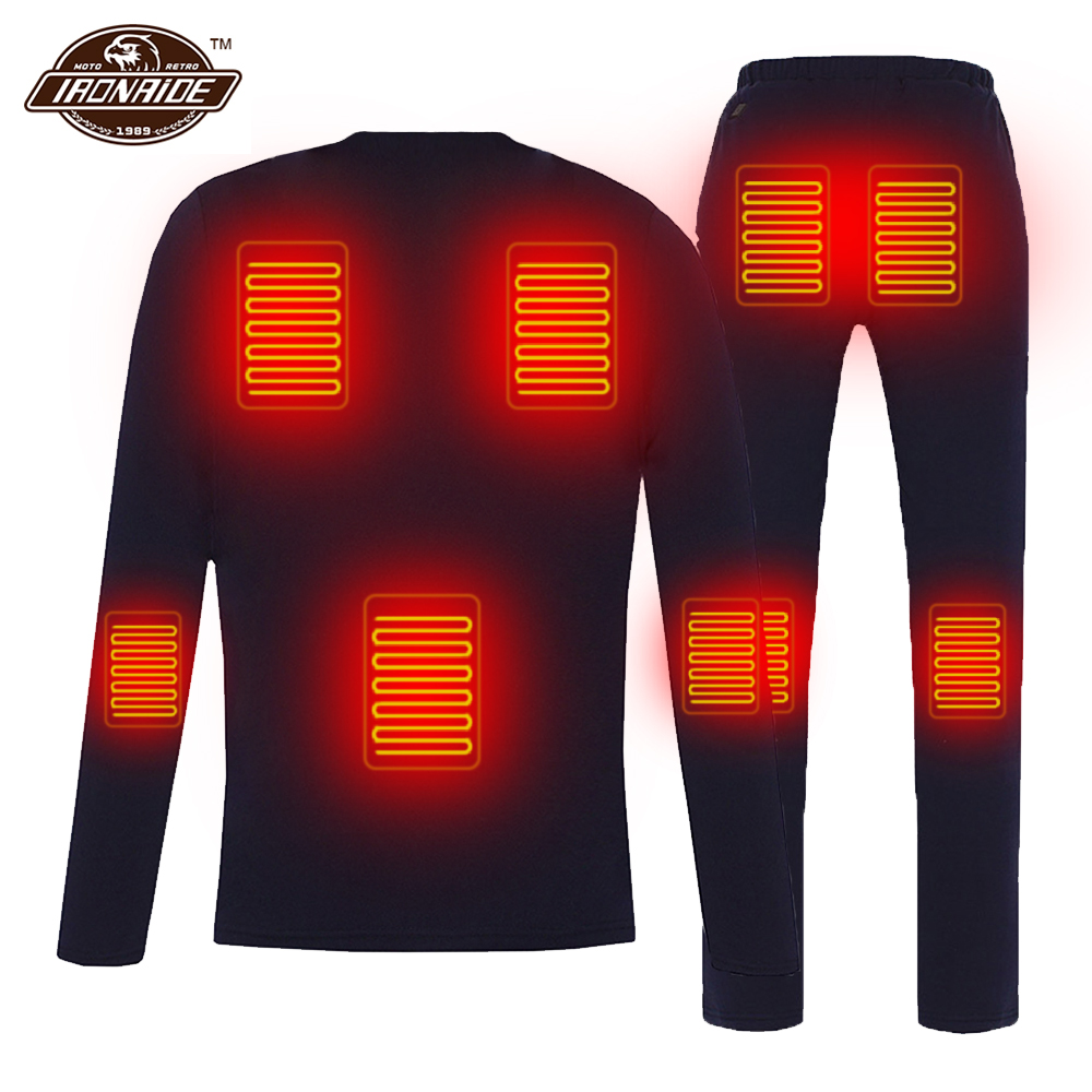 Winter Heated Jacket Men Women Motorcycle Heating Jacket Electric USB Heating Thermal Underwear Set Shirt Top Clothes M-4XL