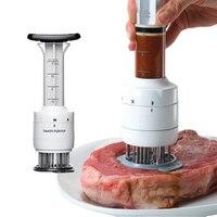 1PC Multifunktionale Fleischklopfer Nadel Edelstahl Steak Fleisch Injektor Marinade Geschmack Spritze Küche Werkzeuge-in Fleisch-Injektoren aus Heim und Garten bei