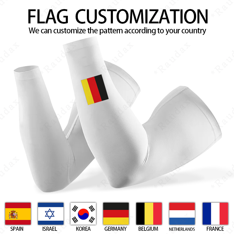 Customizable Spanish Flag Leg Warmers White UV Protection Summer Cycling Breathable Bicycle Running Racing MTB Bike Leg Sleeve