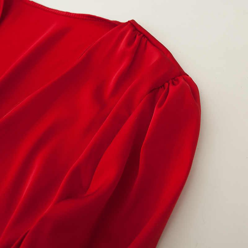 2020 yaz kadın V NeckTops bandaj Lacing üst uzun kollu bluz kadınlar kendini kravat ön saten bluz saten gömlek