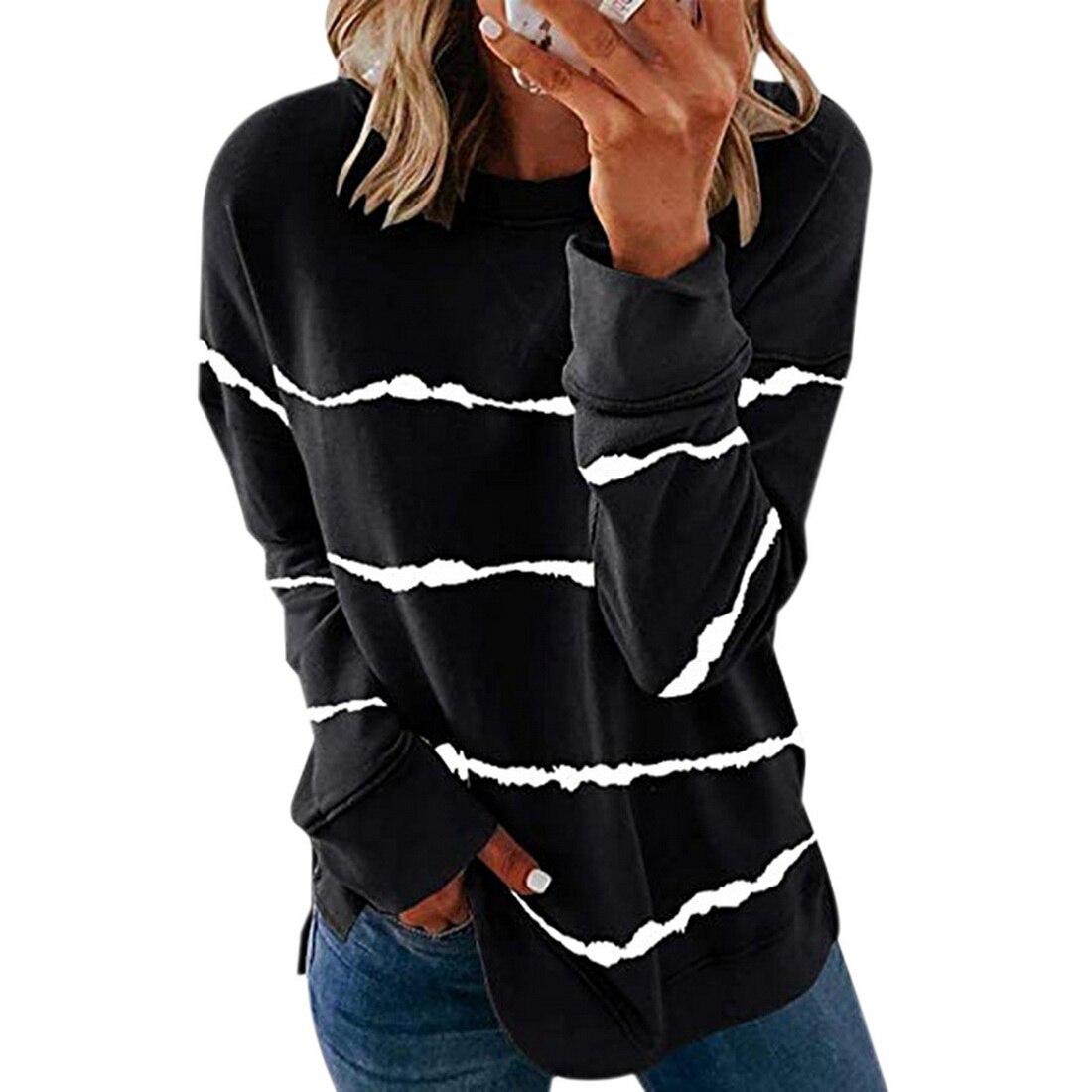 Striped Print Long Sleeve Black Hoodies Women 2020 Big Size 5XL Casual Tee Black Autumn Top O-Neck Loose Sport Ladies Hoodies 13