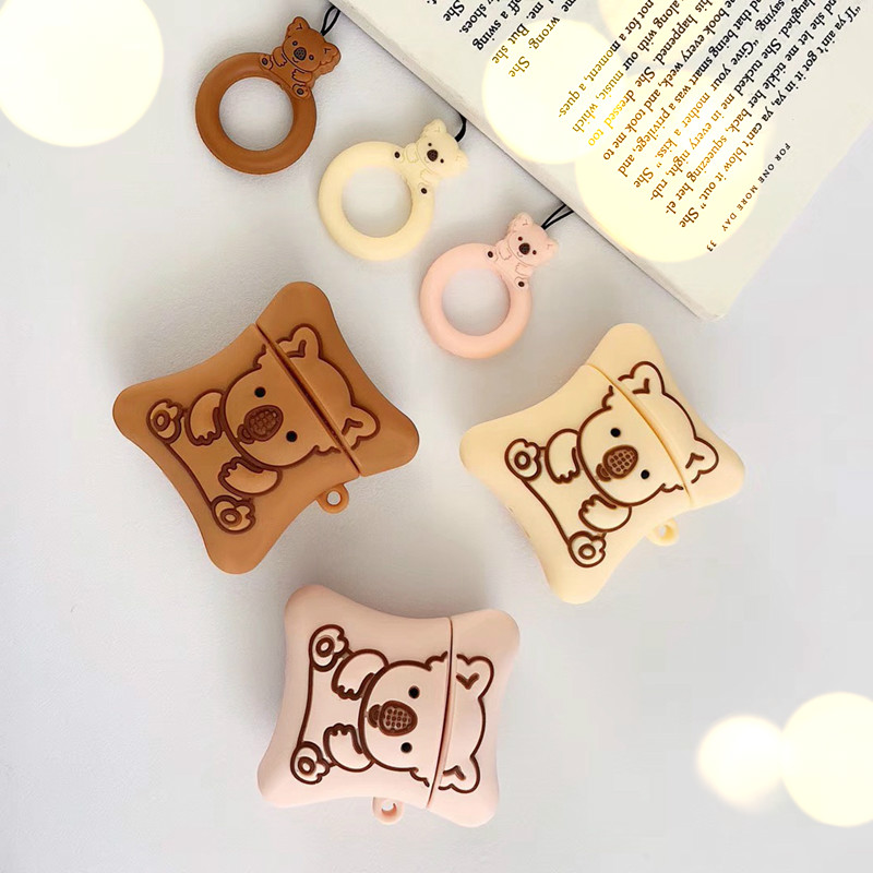 3D Cookie Bear Earphone Case for Apple Airpods 1 2 Luxury Funda Cover Soft earphone Earpods Etui