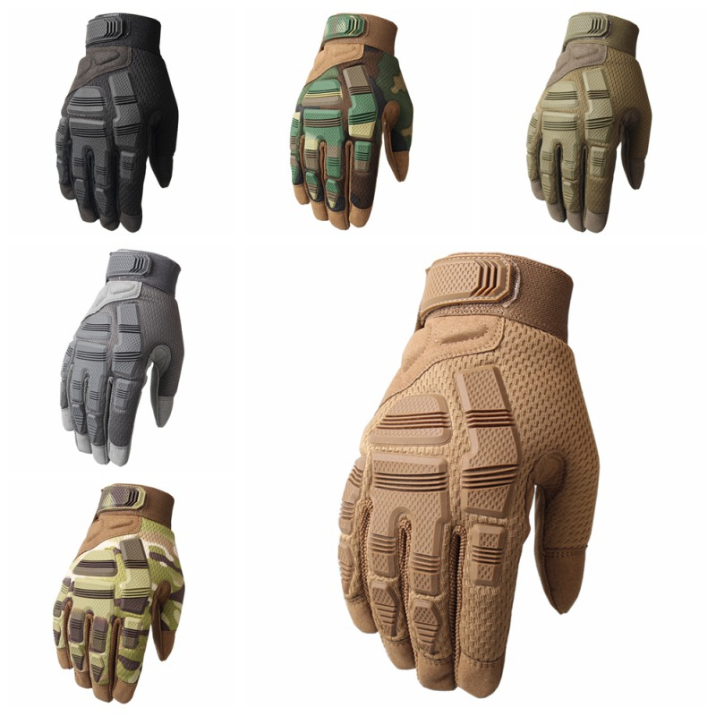 Outdoor Full Finger Tactical Gloves Breathable Anti-Slip Elastic Rubber Protection Gloves Wear-resistant Prevent Scratches