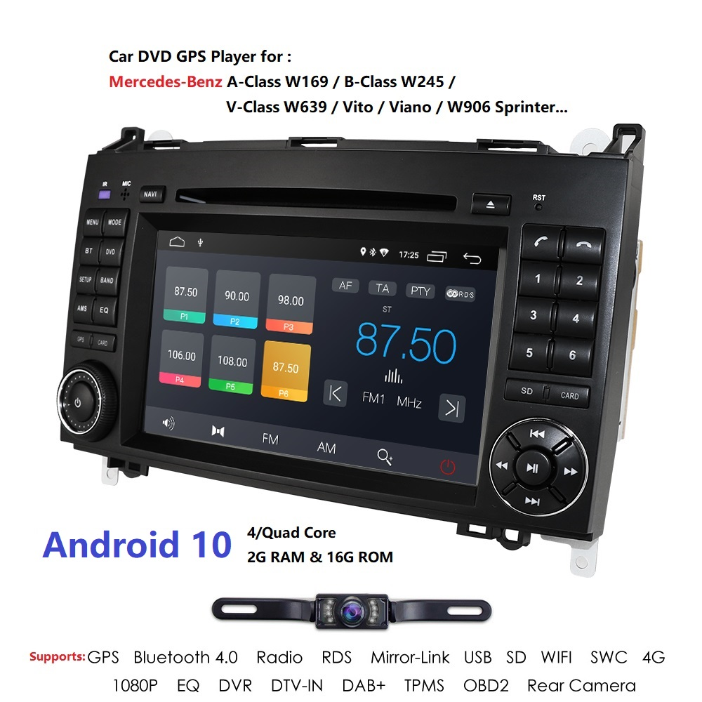 <font><b>2din</b></font> Android10.0 QuadCore Car DVD For Benz Sprinter W169 W245 W906 Viano Vito W639 B200 with WIFI GPS Navigation Radio 2GRAM CAM image