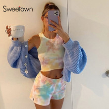 Sweetown Tie Dye Active Wear Matching Set Women Casual Home Fashion Leisure 2 Pi